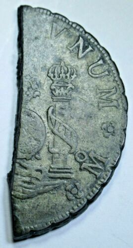 1700s Half Cut Spanish 8 Reales Antique Colonial Pirate Dollar Treasure Cob Coin