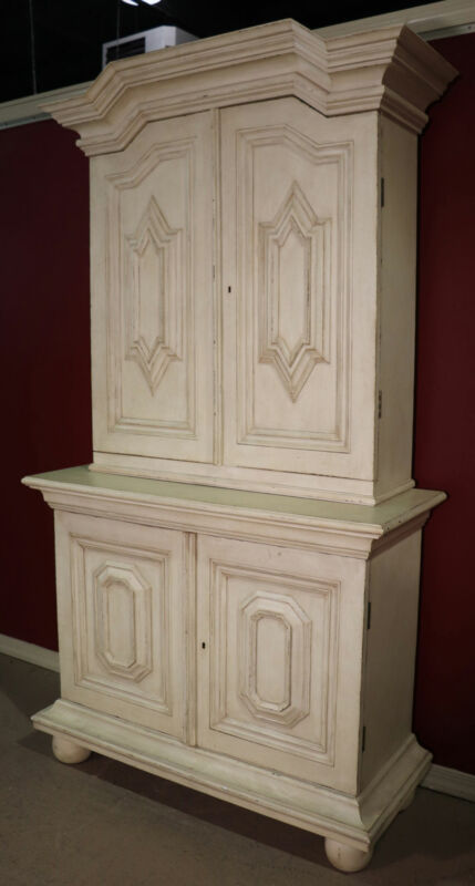 Custom Antique Distressed Two-Piece Painted Swedish Gustavian Armoire Wardrobe
