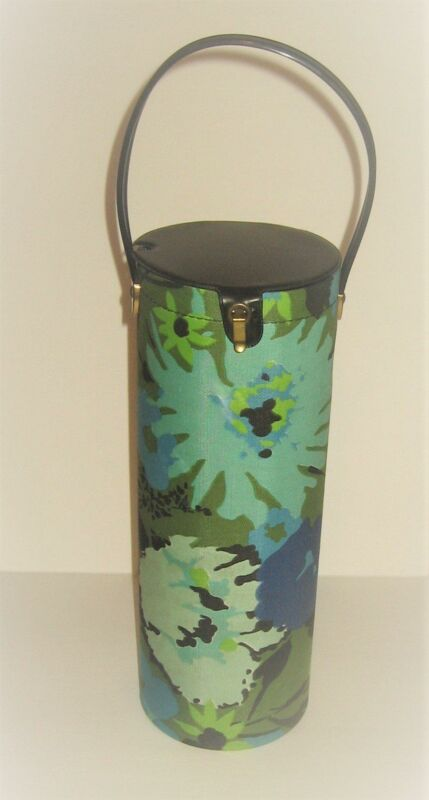 Retro Blue Floral Vintage Knitting Needle / Yarn Canister