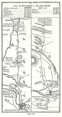 Antique map, Road from Londonderry to Glenarm (1)