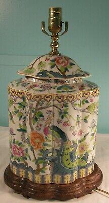 Antique Chinese Nyonya Peranakan Straits Phoenix Lidded Porcelain Vase/Lamp