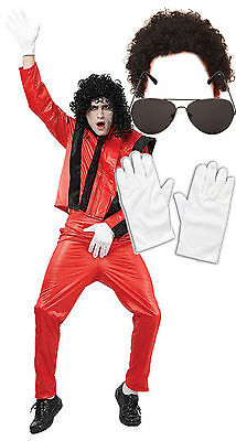 Michael Jackson Thriller Fancy Dress 80s Costume with AFRO  SUNGLASSES GLOVES