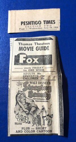 "1959 Walt Disney's ""Sleeping Beauty"" movie print ad 4.5x2"""