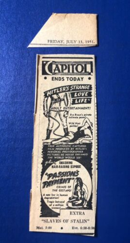 """1951 """"Hitler's Strange Love Life"""" """"Passion's Payment-Crimes of Gestapo"""" movie ad"""