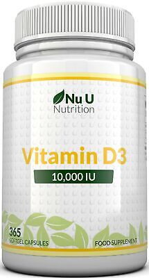 Vitamin D3 10000 iu 365 Soft gels capsules  Vit D3 10,000 IU(1 Full Year Supply)