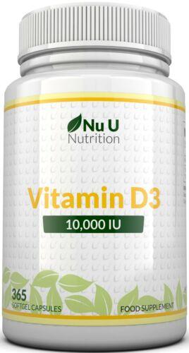 Vitamin D3 10000 iu 365 Soft gels capsules  Vit D3 10,000 IU