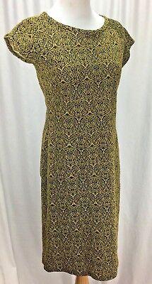 Vtg 60s Gold Brocade Wiggle Dress M Sidney Kramer Original Mad - Fifties Clothes For Men