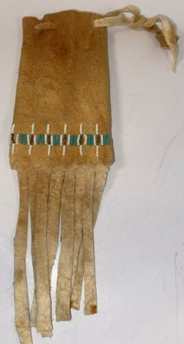"""Native American (Shoshone) Beaded Medicine Pouch 8"""" X 3"""" Tanned Leather Fringe"""