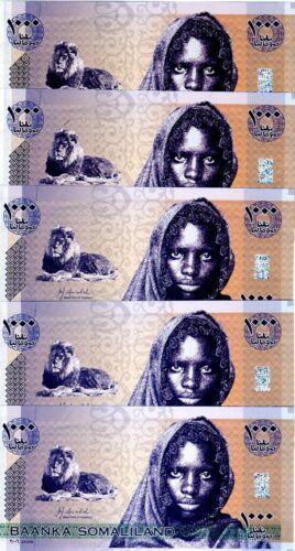 LOT Somaliland, 5 x 1000 shillings, 2006, P-CS1, UNC > Lion, Girl
