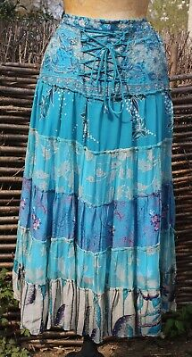 JULIET DUNN London Tiered Turquoise Embellished Skirt - Size UK 12/14