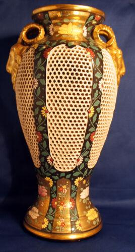 Emil Fischer vase circa 1910 Budapest Hungary Rams Heads pierced
