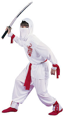 White Ninja Deluxe Child Costume White Hooded Shirt With Red Dragon - White Ninja Kostüm Deluxe