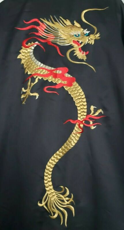 VTG Japanese Kimono Embroidered Dragon BLACK Satin Robe Gold Red Made in Japan