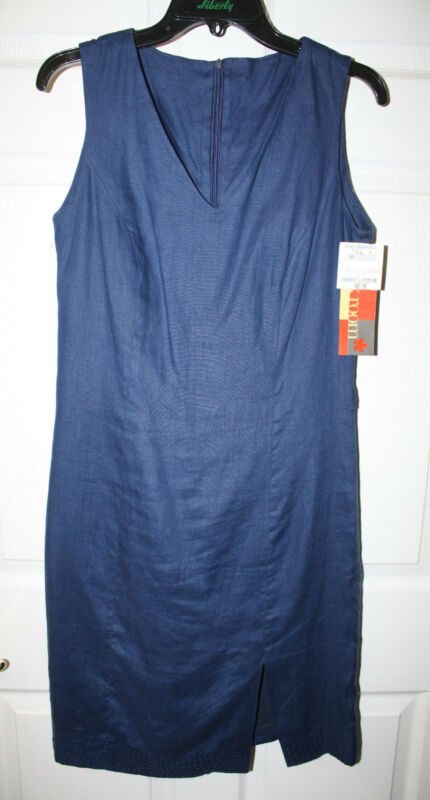 Womens Ladies NWT The Back Room Navy Linen Sleeveless Sheath Dress Size M