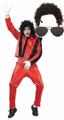 Michael Jackson Thriller Fancy Dress 80s Costume Outfit with AFRO & SUNGLASSES