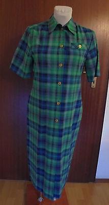 Neues  Damenkleid Gr.38  grün kariert  Polyester/Viskose  mit kurzen Arm Nr.4649 ()