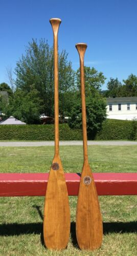 """LOVELY SET Wooden PADDLES 60""""+54"""" Long x 7"""" WIDE w/ LABELS + PATINA Oars BOAT!"""