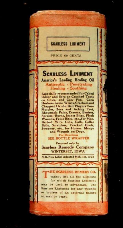 SCARLESS VETERINARY LINIMENT BOTTLE UNOPENED IN ORIGINAL WRAPPER WINTERSET IOWA