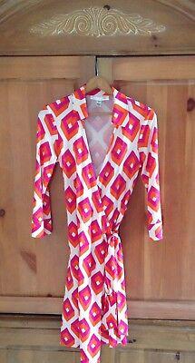 DVF Diane von Furstenberg Vintage Justin Pink & Orange Cube Wrap Dress Sz 6/8/10