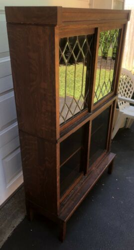 Antique Arts & Crafts Oak & Leaded Glass Danner Barrister Stacking Bookcase