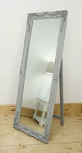 Isabella Vintage Grey Shabby Chic Full Length Antique Cheval Mirror 60