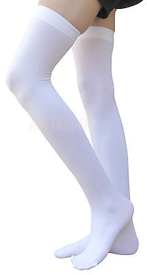 WHITE Thigh-Highs Solid Opaque Socks US Size 2-6 for Ladies Height < 5'9