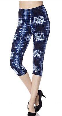 New Womans Brushed Capri Leggings Not Lularoe Tie Dyed Plaid  Print PLUS SIZE Capri Plaid Tie