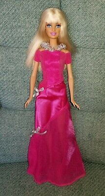 Barbie Blonde Doll, Blue Eyes Wearing Pink Party Dress w/ Shoes Retired -1999