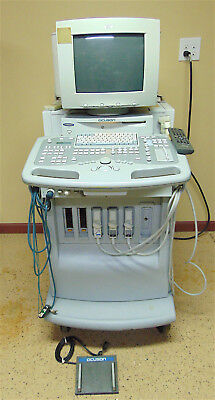 Acuson Aspen Ultrasound System With Foot Control 3 Probes-powers Up-sr265