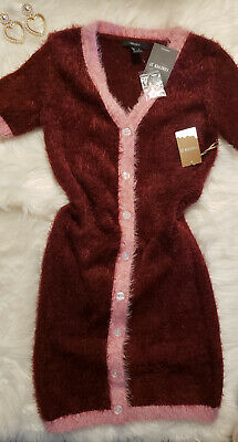 New Women's $28 Forever 21 S Button up V-Neck Burgundy soft sexy Dress
