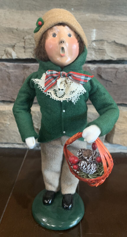 Byers Choice Carolers 1995 Victorian Boy with Basket of Pinecones
