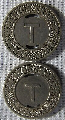 2- Trenton New Jersey Transit Tokens With Slots NJ-885B whotoldya Lot 12417