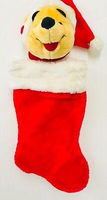 Winnie The Pooh Christmas Stocking Stuffed Head Plush 3D 20 Inches Santas Best