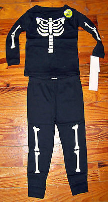 New! Boys CARTER'S 2pc Black & White Glow in the Dark Skeleton Bones - Glow In The Dark Skeleton Pajamas Boys