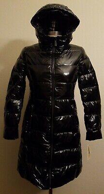 Michael Kors Women's Down Shiny Puffer Parka Coat Size XS Black M824363T47
