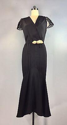 Vintage 1930s Black flutter sleeve Dress Gown Mermaid Fish Tail 40 bust