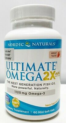Nordic Naturals Ultimate 2x 1120 mg Omega Strawberry 60 Mini Soft Gels 09/2022+