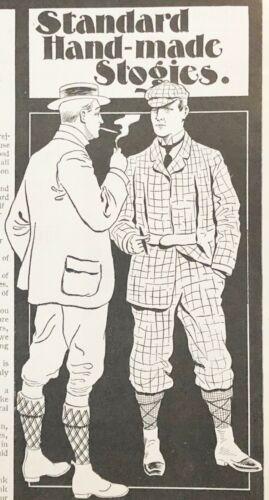 "1898 Vtg Print Ad R&W Jenkinson""STANDARD HAND-MADE STOGIES""Golf Men Smoke Cigars"