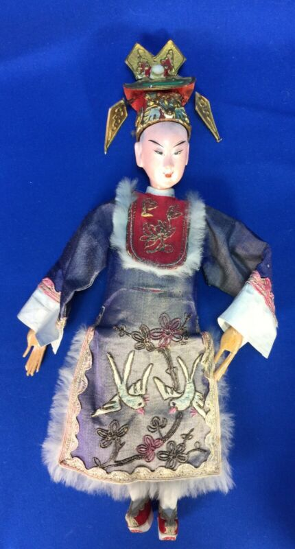 "Antique Chinese Opera Doll 12"" Original Elaborate Costume w Birds 1920"