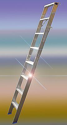 Alu Regalleiter mit Haken 8 Stufen gerieft für senkr. Höhe von 2,00m