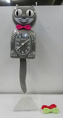 KIT-CAT CLOCK -MODERN ART- GRAY WITH MULTI BOW TIES  MADE IN THE USA  BC-38