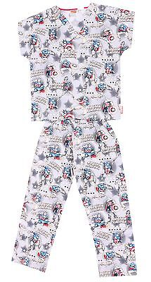 Marvel Kid's Boy's Cherokee Uniform Captain Comics Scrub Top Pants Pajama Set