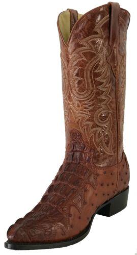 Mens, Leather, Crocodile, Ostrich, Design, Rodeo, Western, Cowboy, Boots, J, Toe, Cognac,