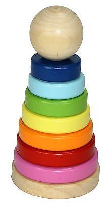 bunter Stapelturm für Kinder Holz Steckspiel Regenbogen Ringpyramide Stapelspiel