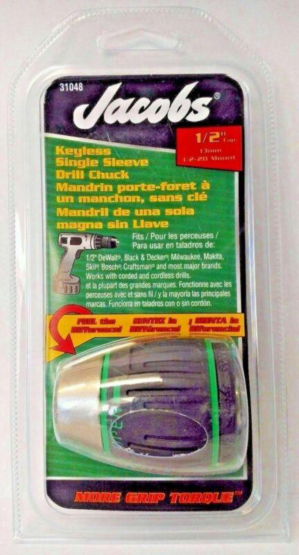 "Jacobs 31048 1/2"" Capacity Soft Grip Sleeve Keyless Drill Chuck 1/2-20 Mount"