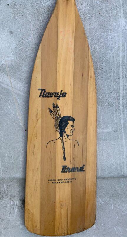 "Wooden Navajo Brand Canoe Boat Paddle Oar wood 41"" lake house cabin decor OLD"