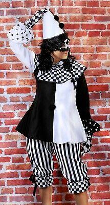 Hochwertig Kostüm Harlekin Dame Clown Damenkostüm  Größe 36/38 mit Hut und (Maske Und Kostüm)