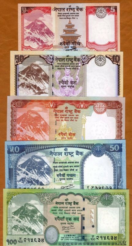 SET Nepal, 5;10;20;50;100 Rupees, 2012-2017, P-New, UNC Everest, Animals