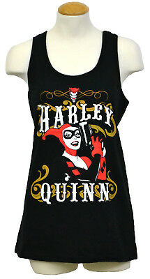 Harley Quinn Women's Tank Top T-shirt DC Comics Batman Graphic Tee Black NWT