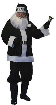 Santa Suit Black Bah Humbug Costume Adult Mens Christmas Fancy Dress - Black Santa Suit